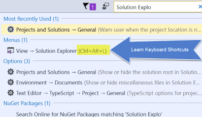 Visual Studio Quick Launch learn keyboard shortcuts