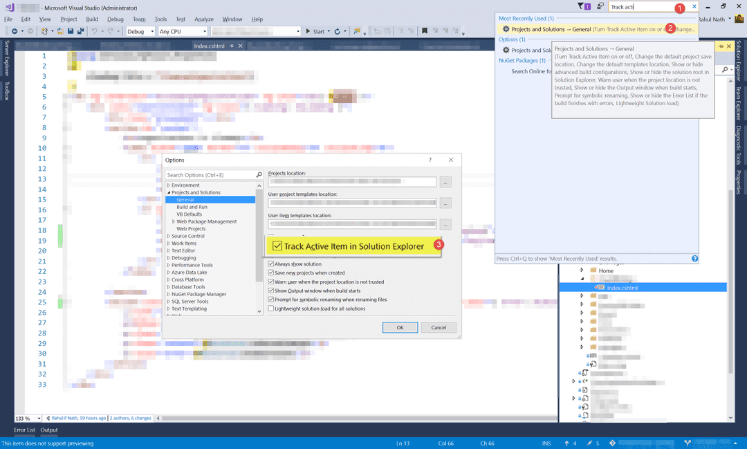 Track Active Item in Solution Explorer, Visual Studio