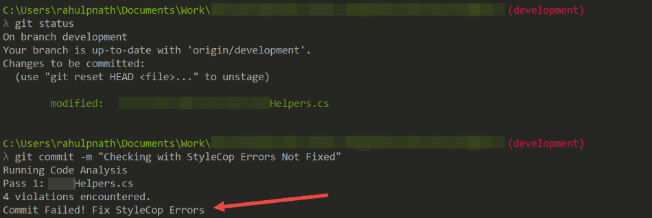 StyleCop git hook failing commit in console