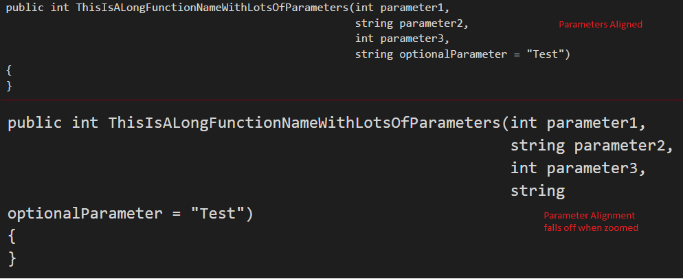 Function Parameters on new line aligned with first parameter