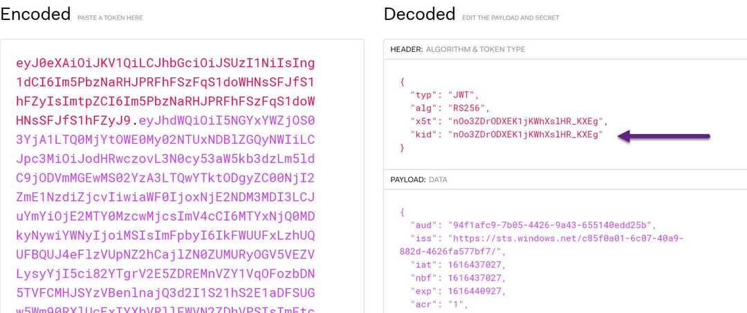 Bearer Token inspected in jwt.io with the kid property highlighted, that is used to match up with the key from jwks_uri.
