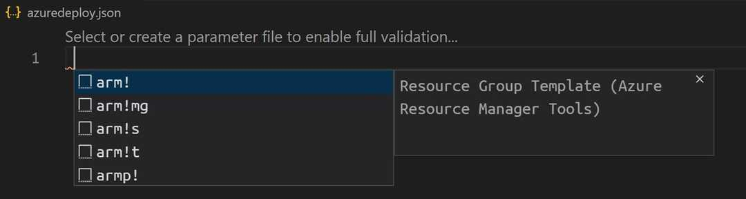 'ARM Template scaffolding snippets in VS Code'