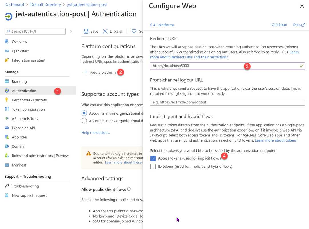 Enable Access token for Implicit flow in Azure App Registration