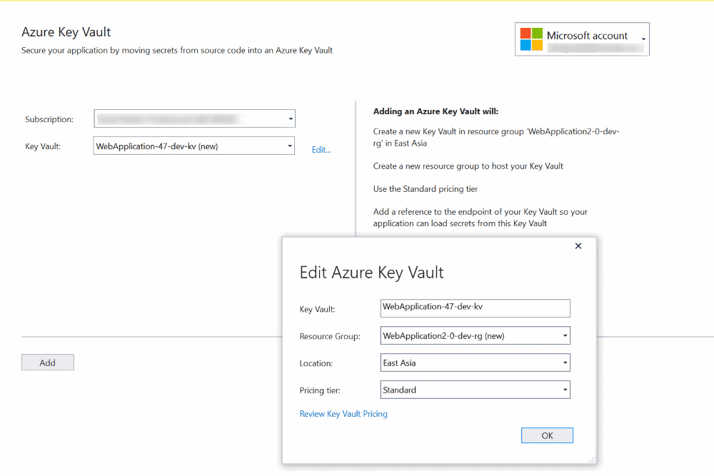 Visual Studio, Azure Key Vault Connected Services