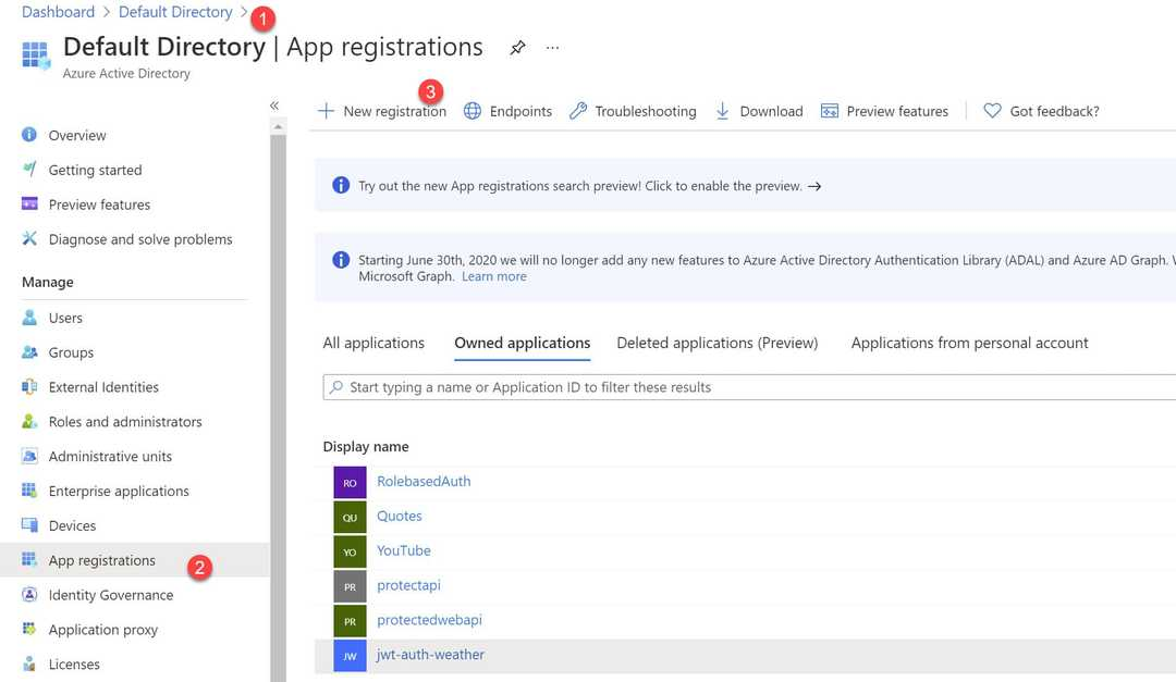 Azure AD App Registrations in the Portal