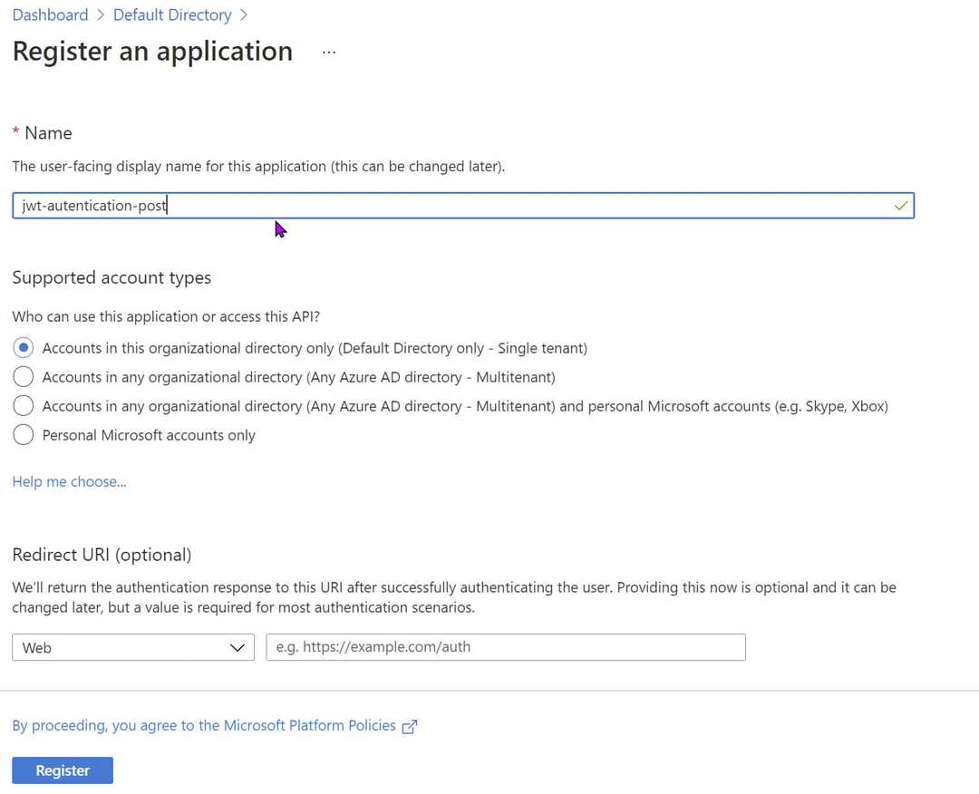 Azure AD Create a new App Registration